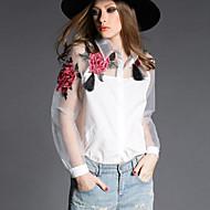 Dámské - Květinový Košile, Síťka Polyester Košilový límec Motýlí rukávy