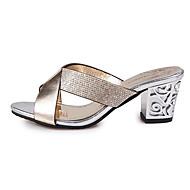 Γυναικείο Παπούτσια PU Άνοιξη Καλοκαίρι Ανατομικό Σανδάλια Χοντρό Τακούνι Ανοικτή Μύτη Τεχνητό διαμάντι Για Causal Φόρεμα Χρυσό Ασημί Μπλε