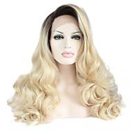 Damen Synthetische Perücken Spitzenfront Lang Natürlich gewellt Schwarz / Strawberry Blonde Gefärbte Haarspitzen (Ombré Hair) Natürlicher