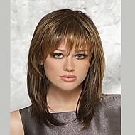Syntetiske parykker Lige Syntetisk hår Brun Paryk Dame Medium Længde Lågløs Beige