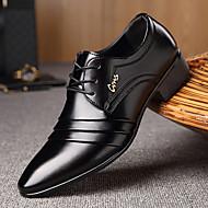 cheap Men's Shoes-Men's Shoes Microfibre Spring Fall Comfort Oxfords Walking Shoes Split Joint Lace-up for Casual Black