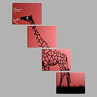 מצויר ביד בעלי חיים מאוזן,מודרני סגנון ארופאי ארבעה פנלים בד ציור שמן צבוע-Hang For קישוט הבית
