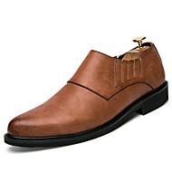 Masculino-Oxfords-Sapatos formais-Rasteiro-Preto Cinzento Castanho Escuro-Couro-Casamento Casual Festas & Noite
