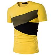 Rund hals Herre - Farveblok Bomuld Aktiv Sport T-shirt / Kortærmet