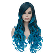 Women Fashion Wig Black to Blue Long Wavy Ombre Hair Party Costume Wig