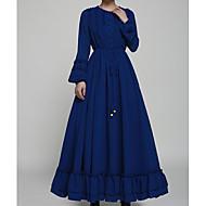 forår nye store swing længde nederdel langærmet kjole folder palads tilbud