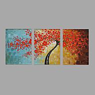 Maalattu Maisema Kukkakuvio/Kasvitiede Vaakasuora,Pastoraali Moderni 3 paneeli Kanvas Hang-Painted öljymaalaus For Kodinsisustus