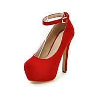 baratos Sapatos de Tamanho Pequeno-Mulheres Sapatos Flanelado Primavera / Outono Conforto / Tira no Tornozelo / Sapatos clube Saltos Caminhada Salto Agulha Ponta Redonda