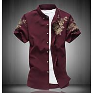 Erkek Pamuklu Gömlek Çiçekli Kumsal Siyah XXXXL / Kısa Kollu