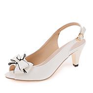 여성 구두 PU 봄 여름 클럽 신발 샌들 청키 굽 발가락 슈즈 리본장식 버클 제품 드레스 파티/이브닝 화이트 블랙