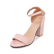Mulheres Sapatos Couro Ecológico Verão Outono Sapatos clube Sandálias Salto Robusto Ponta Redonda Presilha para Casual Escritório e