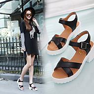 Feminino Sapatos Couro Ecológico Primavera Verão Conforto Sandálias Salto Grosso Salto de bloco Dedo Aberto Presilha Para Casual Branco