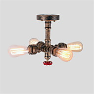 cheap Ceiling Lights-4 Head Loft Retro Industrial Style Water Pipe Semi Flush Mount Light Finish Restaurant Cafe Bar ceiling lamp