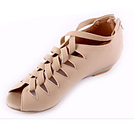 Women's Shoes PU Spring Summer Fall Comfort Light Soles Sandals Flat Heel Wedge Heel Peep Toe Zipper For Casual Office & Career Dress