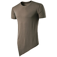 Kortærmet Rund hals Tynd Herrer Ensfarvet Sommer Simpel Aktiv Afslappet/Hverdag Sport T-shirt,Bomuld Rayon