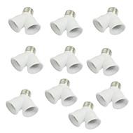 10 stk E27 til E27 lys lampen kontakten y forme to splitteren omformer