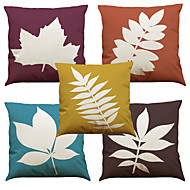 "Set of 5 Maple Leaf Linen Home Office Sofa Square Pillow CaseWithout Insert(18""*18"")"