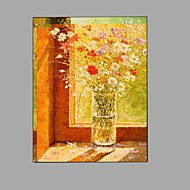 cheap Oil Paintings-Hand Painted Oil Painting Impression Flowers Painting Wall Art with Stretched Framed Ready to Hang