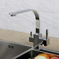 Χαμηλού Κόστους Μπαταρίες κουζίνας με φίλτρο-Σύγχρονο Art Deco / Ρετρό Μοντέρνα Ποτό Ψηλός / High Arc πρότυπο στόμιο Αναμεικτικές με ενιαίες βαλβίδες Ντουζιέρα Βροχή Εκτεταμένο