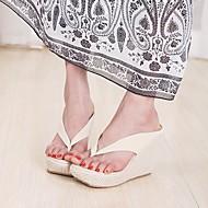 """נשים נעליים ללא שרוכים קריפרס רצועה אחורית פליז קיץ קזו'אל קריפרס רצועה אחורית עקב וודג' לבן שחור ורוד ס""""מ 2.54 - ס""""מ 4.45"""
