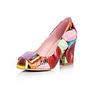 baratos -Feminino-Saltos-Sapatos clube-Salto Grosso-Vermelho-Pele-Escritório & Trabalho Social Casual