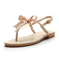 cheap Women's Sandals-Women's Shoes PU Spring / Summer Slingback Sandals Flat Heel Round Toe Bowknot Gold / Beige / Brown / Party & Evening / Party & Evening