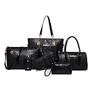 女性 バッグ オールシーズン PU バッグセット 6個の財布セット のために カジュアル ブルー ブラック コーヒー ワイン アメジスト