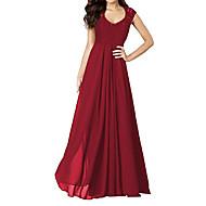 Mujer Fiesta Festivos Noche Vintage Corte Swing Vestido - Encaje Espalda al Aire Cortado, Un Color Maxi Escote en U Rojo / Frunce