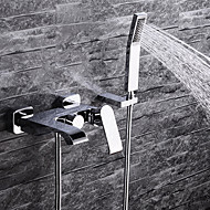 cheap -Contemporary Wall Mounted Waterfall Ceramic Valve Two Handles Three Holes Chrome , Bathtub Faucet