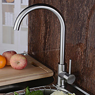 cheap Kitchen Faucets-Contemporary Tall/­High Arc Centerset Rotatable Ceramic Valve Single Handle One Hole Stainless Steel, Kitchen faucet