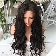 Ženy Paruky z přírodních vlasů Přírodní vlasy Se síťovanou přední částí Krajka vpředu 150% Hustota Vlnité Paruka Černá Krátký Střední