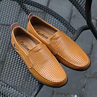 baratos Sapatos Masculinos-Homens sapatos Pele Primavera / Verão Buraco Shoes / Mocassim / Conforto Oxfords Preto / Castanho Claro / Castanho Escuro