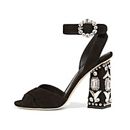 baratos Sapatos Femininos-Mulheres Sapatos Flanelado Primavera / Verão Sapatos clube Sandálias Salto Robusto Peep Toe Pedrarias Preto / Festas & Noite