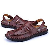 남성 샌들 조명 신발 구멍 신발 가죽 봄 여름 사무실 & 커리어 캐쥬얼 플랫 블랙 브라운 레드 플랫