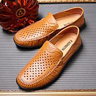 baratos Sapatos Masculinos-Homens Mocassim Pele Primavera / Verão Mocassins e Slip-Ons Preto / Castanho Claro / Castanho Escuro / Loafers de conforto