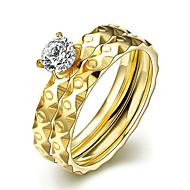 Γυναικεία Band Ring Δαχτυλίδι Δαχτυλίδι αρραβώνων - Τιτάνιο Ατσάλι κυρίες, μινιμαλιστικό στυλ, Μοντέρνα, Νυφικό Κοσμήματα Χρυσό Για / Σετ δαχτυλιδιών / 2pcs