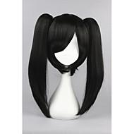 Naisten Synteettiset peruukit Suojuksettomat Suora Musta Poninhännällä Cosplay-peruukki puku Peruukit