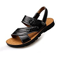 Men's Sandals Summer Fall Slingback Comfort Outdoor Casual Flat Heel Studded Dark Brown Light Brown Black Walking