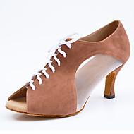 billige Sko til latindans-Tilpassbare kvinner dansesko suede latin støvler sandaler innendørs rød kaffe svart