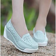 Feminino Sapatos Couro Ecológico Primavera Conforto Mocassins e Slip-Ons Para Casual Branco Azul Rosa claro
