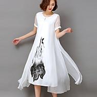 ieftine -Pentru femei Mărime Plus Size Ieșire Vintage Sofisticat Swing Rochie - Imprimeu Talie Inaltă Midi Alb