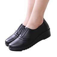 Damă Pantofi Piele Primăvară Toamnă Confortabili Mocasini & Balerini Toc Pană Pentru Casual Negru Maro Vișiniu