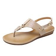 abordables Zapatos y Bolsos-Mujer Zapatos PU Primavera / Verano Confort / Suelas con luz Sandalias Paseo Tacón Plano Dedo redondo Remache / Hebilla Negro / Almendra