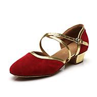 """billige Moderne sko-Barne Latin Velourisert Lakklær Sandaler Høye hæler Ytelse Sløyfe Paljett Gummi Spenne Flat hæl Svart Rød Blå Under 1 """" Kan"""
