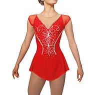 Vestidos para Patinação Artística Mulheres Para Meninas Vestidos de Patinação no Gelo Vermelho Tactel Elasticidade Alta Retalhos Clássico
