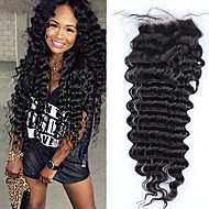 Lace Frontal Closure 4*4 Brazilian Deep Wave Virgin Hair Free/Middle/Three Part Closure Bleached Knots Unprocessed Human Hair