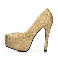 cheap Women's Heels-Women's Shoes PU Spring Summer Comfort Novelty Heels Walking Shoes Platform Crystal Heel Round Toe Rhinestone Crystal Bowknot Pearl