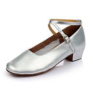 billige Moderne sko-Dame Moderne Kunstlær Flate Innendørs Spenne Kustomisert hæl Sølv Kan spesialtilpasses