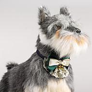 猫の犬の調節可能なレースの襟のbowtieと鐘