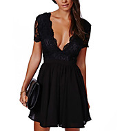 女性用 クラブ お出かけ ストリートファッション シース ドレス - レース バックレス, パッチワーク ミニ ハイライズ ディープVネック ブラック